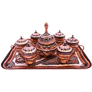 ENGRAVED COPPER TEA SERVICE